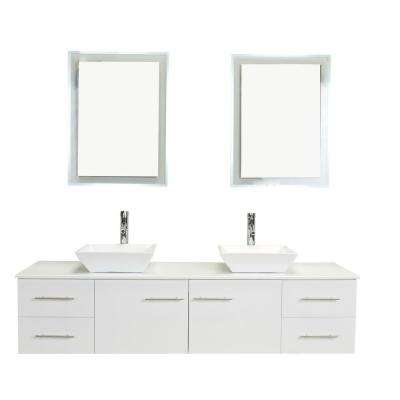 Totti Wave 72 in. W x 16 in. D x 22 in. H Vanity in White with Glassos Vanity Top in White with White Double Basin