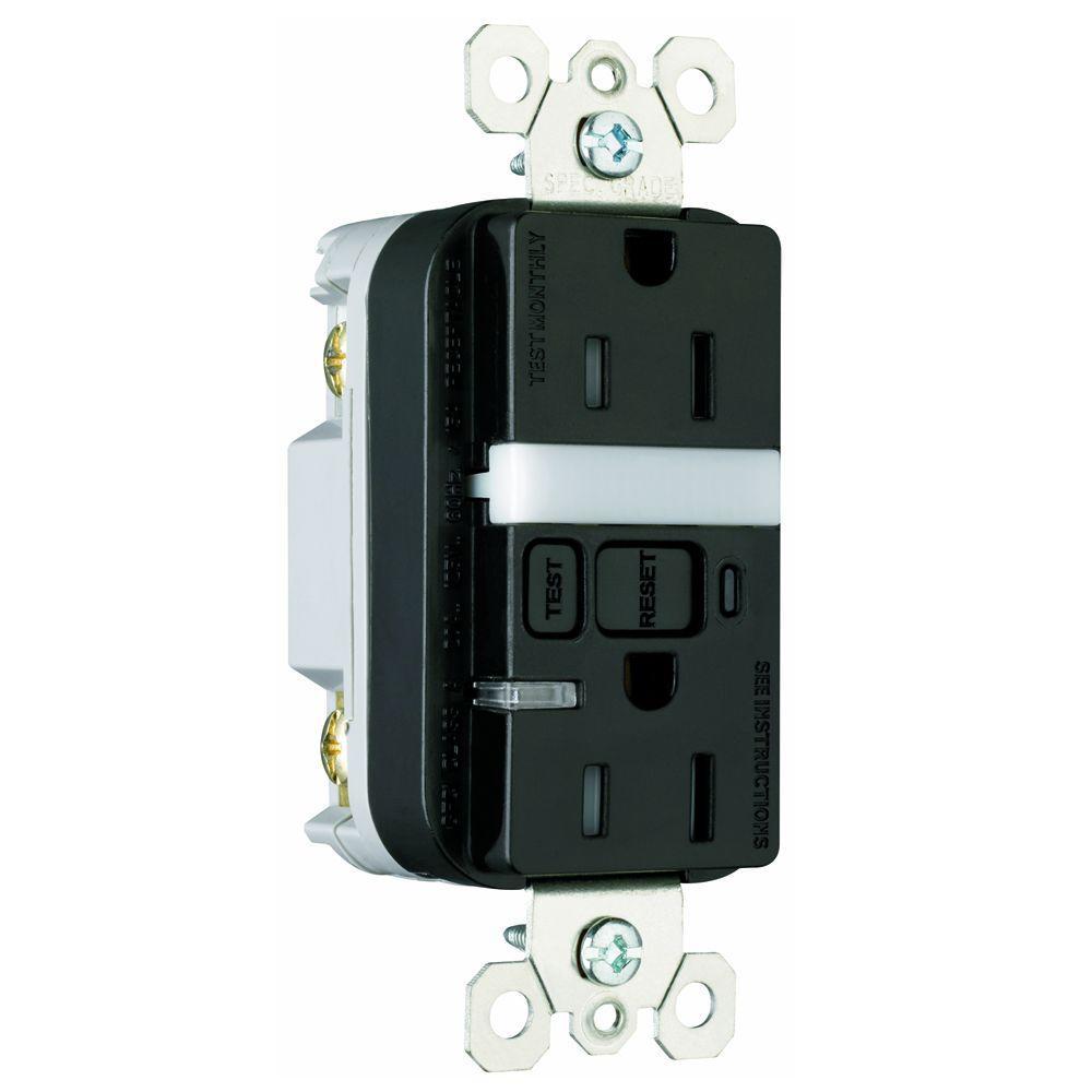 15 Amp Tamper-Resistant GFCI Duplex Receptacle and Nightlight