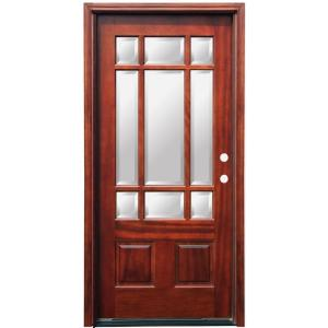 Pacific entries 36 in x 80 in craftsman 9 lite stained - Exterior door glass inserts home depot ...