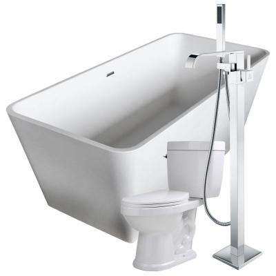 Cenere 58.25 in. Man-Made Stone Flatbottom Non-Whirlpool Bathtub in White with Angel Faucet and Talos 1.6 GPF Toilet