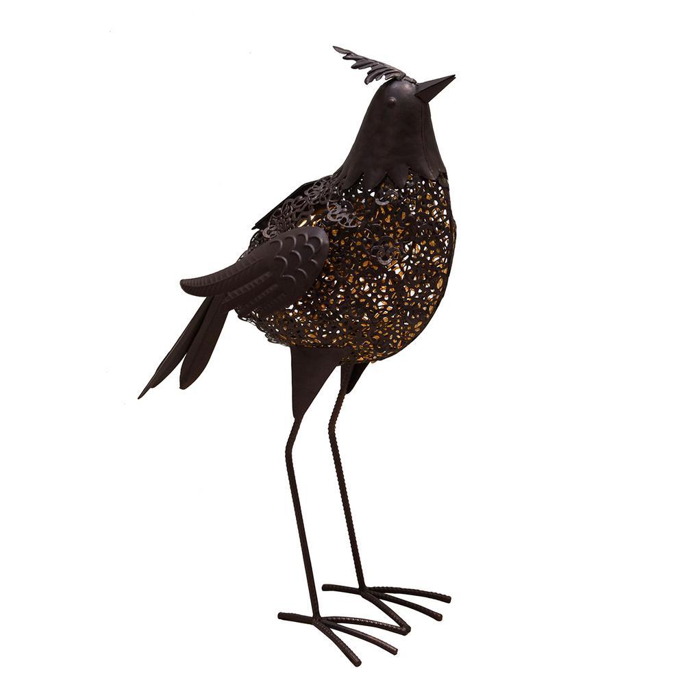 20.3 in. Steel Indoor/Outdoor Garden Bird Metal Sculpture Statue with Solar Light
