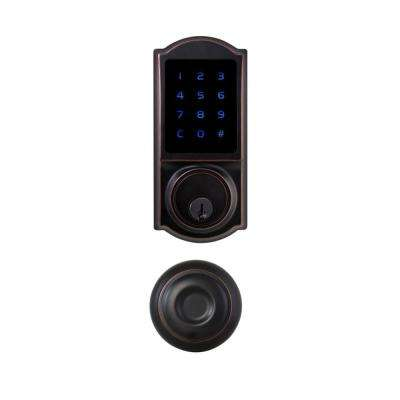 Castle Aged Bronze Touchscreen Electronic Deadbolt with Hartford Passage Knob