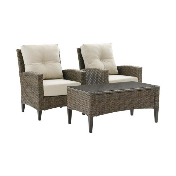 Rockport Brown 3-Piece Wicker Patio Conversation Set with Oatmeal Cushions