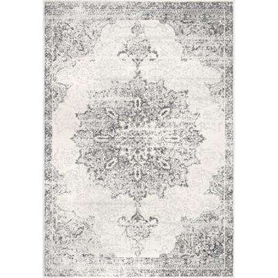 Sunny Wildflower Medallion Gray 6 ft. 7 in. x 9 ft. Area Rug