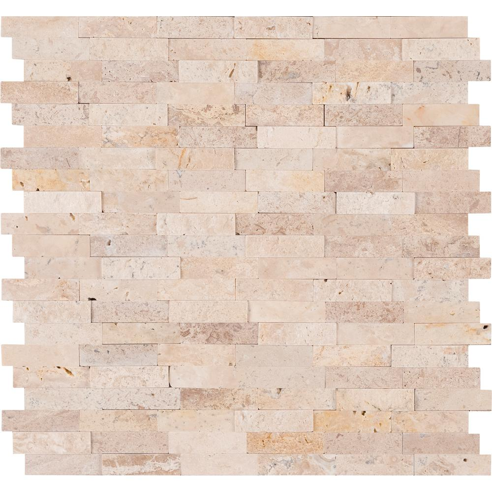 MSI Roman Beige Split Face Peel and Stick 12 in. x 12 in. x 6mm Travertine Mesh-Mounted Mosaic Tile (15 sq. ft. / case)