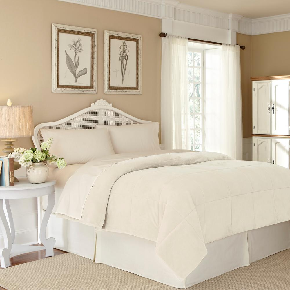 Plush Lux Ivory Polyester Full/Queen Blanket