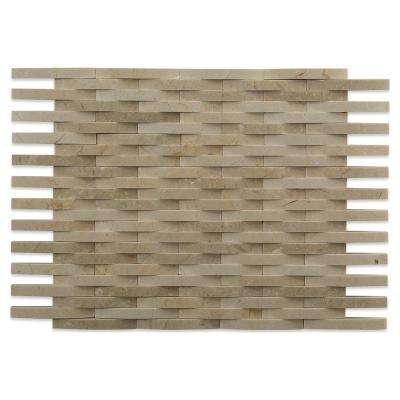 3D Reflex Crema Marfil 9 in. x 11.5 in. x 12 mm Marble Mosaic Wall Tile