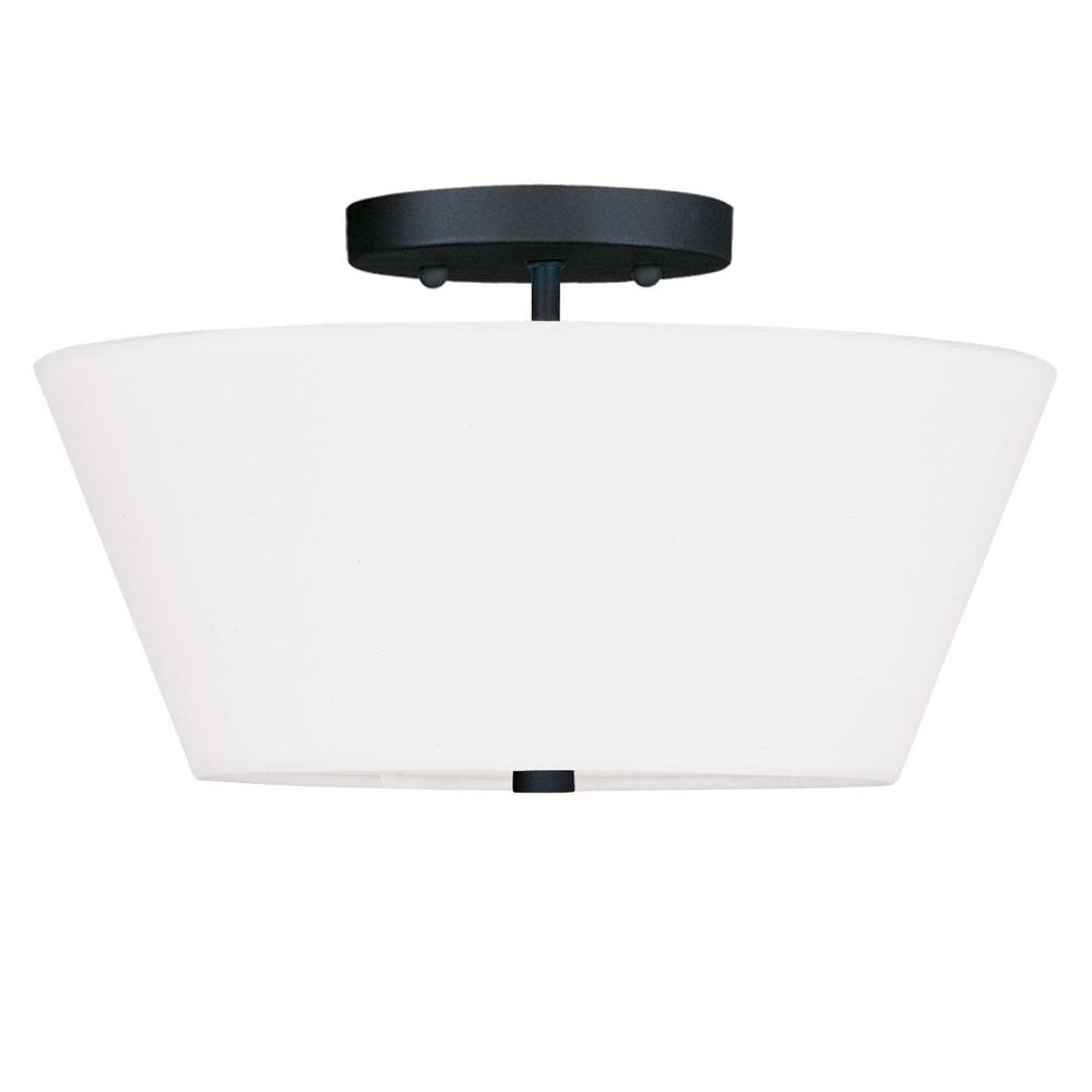 Livex Lighting Providence 2-Light Black Incandescent Ceiling Semi-Flush Mount Light