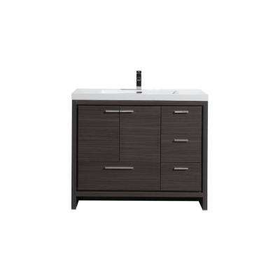 Dolce 42 in. W Bath Vanity in Dark Gray Oak with Reinforced Acrylic Top in White with White Basin and Right Side Drawers