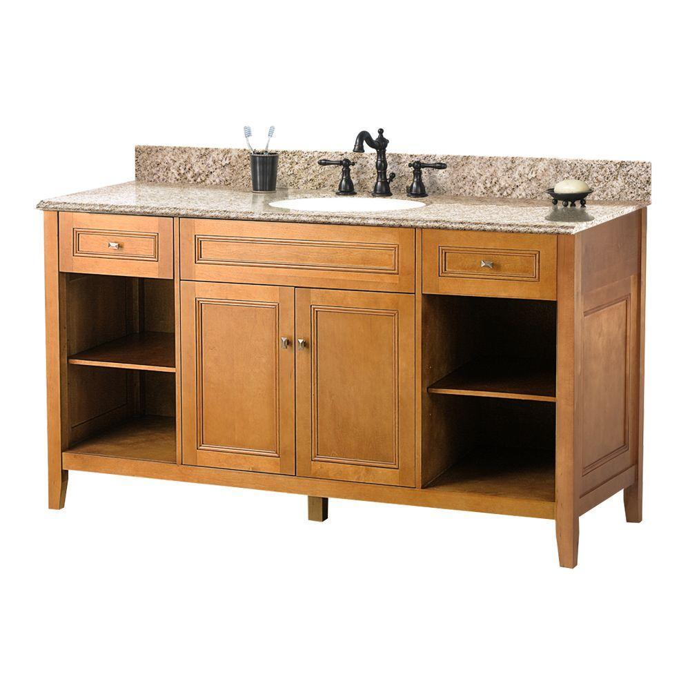 Home Decorators Collection Exhibit 61 in. W x 22 in. D Bath Vanity in Rich Cinnamon with Granite Vanity Top in Golden Hill