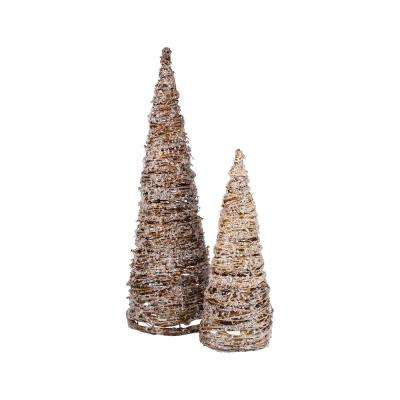 Artisan 8 in. x 25 in. and 6 in. x 17 in. Natural Grapevine, Iron and Clear Acrylic Decorative Trees (Set Of 2)