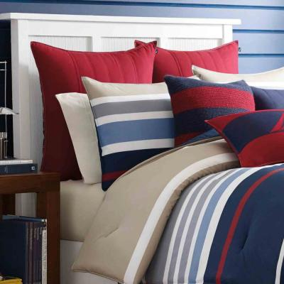 Bradford Navy Striped Cotton Comforter Set