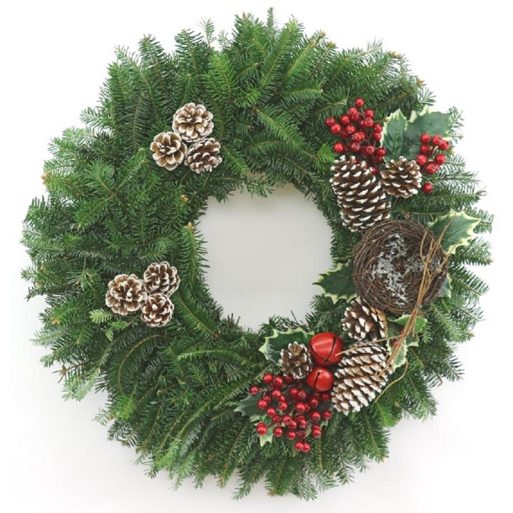 Fresh Christmas Wreaths.Cottage Farms Direct 24 In Fresh Christmas Celebration Fraser Fir Evergreen Wreath