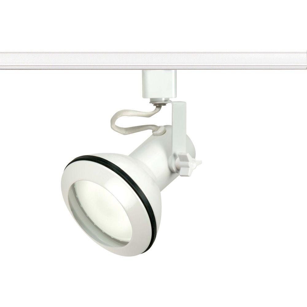 Glomar 1-Light PAR30 White Euro Style Track Lighting Head