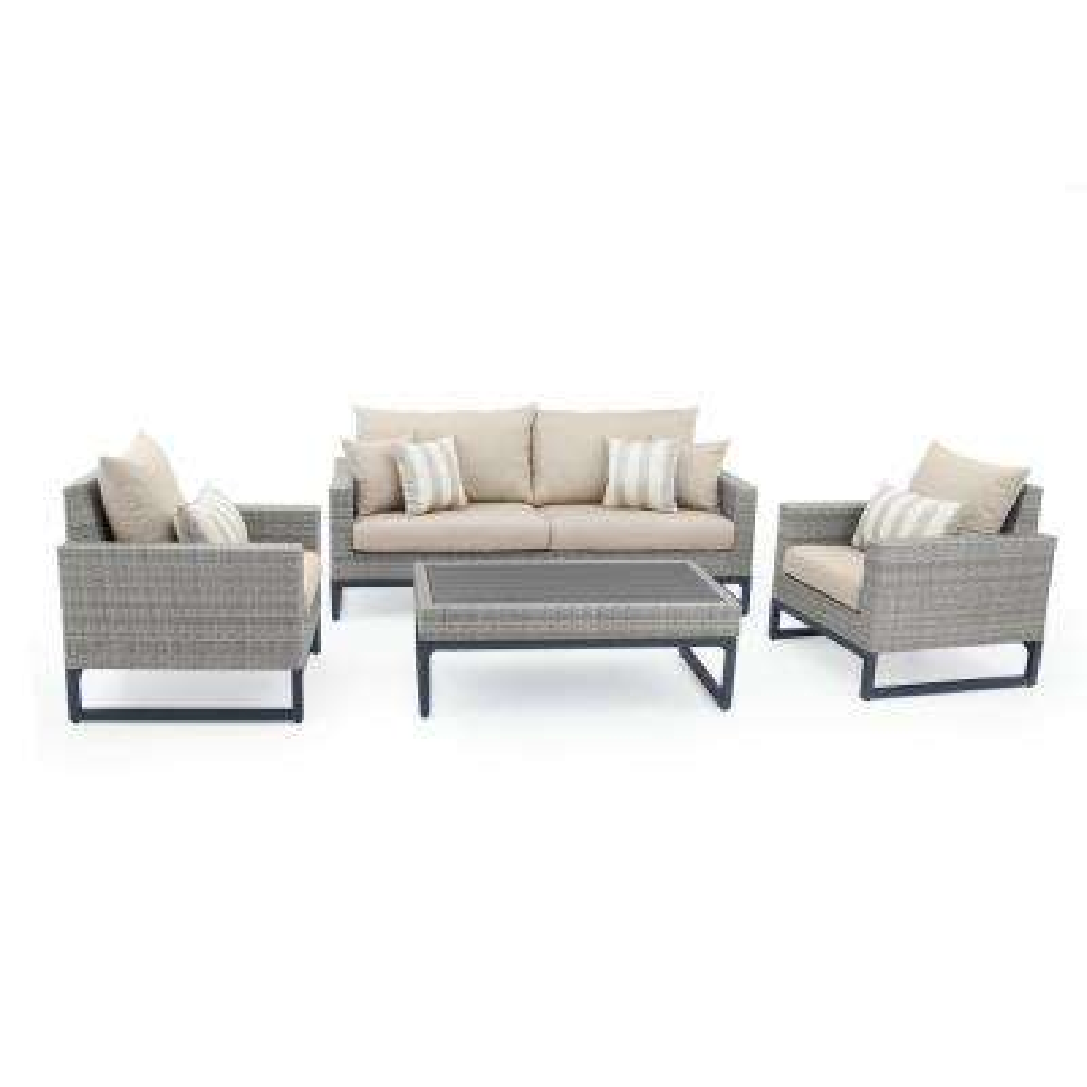 Milo Grey 4-Piece Wicker Patio Deep Seating Conversation Set with Slate Grey Cushions