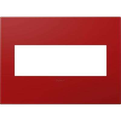 3-Gang 3 Module Wall Plate, Cherry