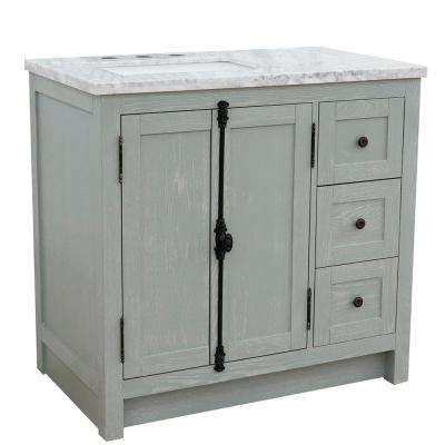 37 in. W x 22 in. D x 36 in. H Bath Vanity in Gray Ash with White Marble Vanity Top and Left Side Rectangular Sink