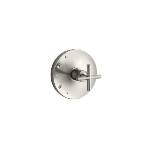 Purist 1-Handle Tub and Shower Faucet Trim Kit with Cross Handle in Vibrant Brushed Nickel (Valve Not Included)