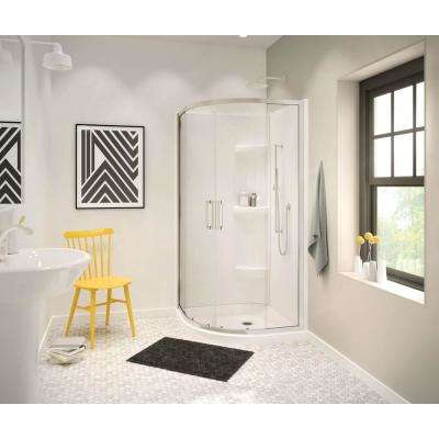 Radia 32 in. x 32 in. x 71-1/2 in. Frameless Neo-Round Sliding Shower Door with Clear Glass in Brushed Nickel