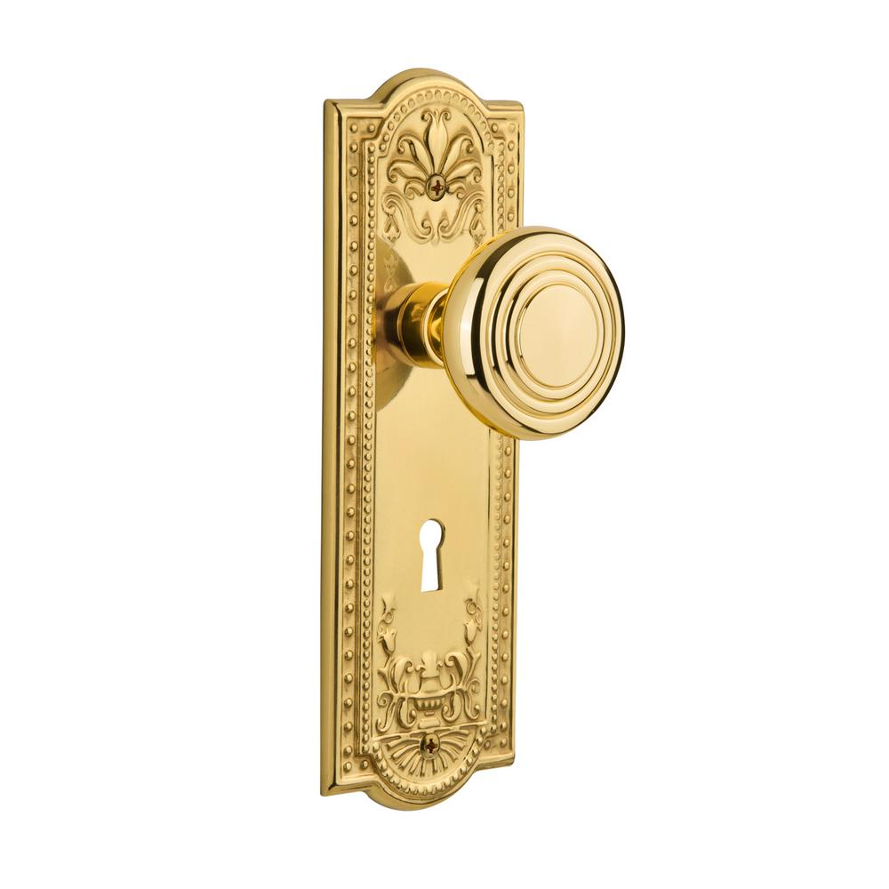 Meadows Plate with Keyhole 2-3/8 in. Backset Polished Brass Privacy Bed/Bath