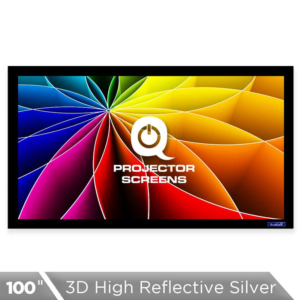 Fixed Frame Projector Screen - 16:9, 100 in. 3D High Refl...