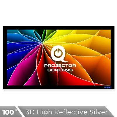 Fixed Frame Projector Screen - 16:9, 100 in. 3D High Reflective Silver 2.5 Gain