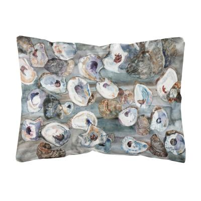12 in. x 16 in. Lumbar Outdoor Throw Pillow Bunch of Oysters Canvas Fabric Decorative Pillow