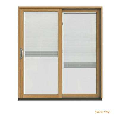 72 in. x 80 in. W-2500 Contemporary Vanilla Clad Wood Right-Hand Full Lite Sliding Patio Door w/Stained Interior