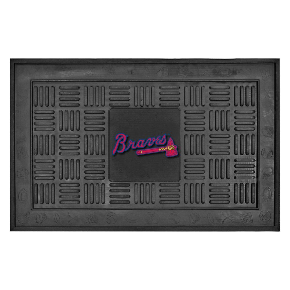 MLB Atlanta Braves Black 19 in. x 30 in. Vinyl Indoor/Outdoor Door Mat