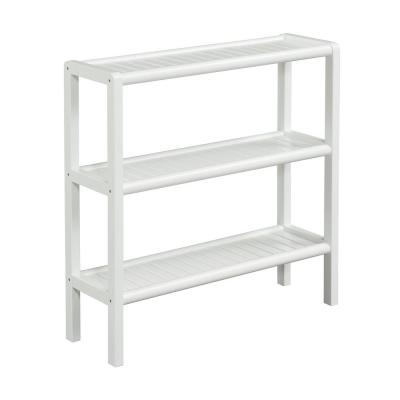 29 in. White Wood 3-shelf Accent Bookcase