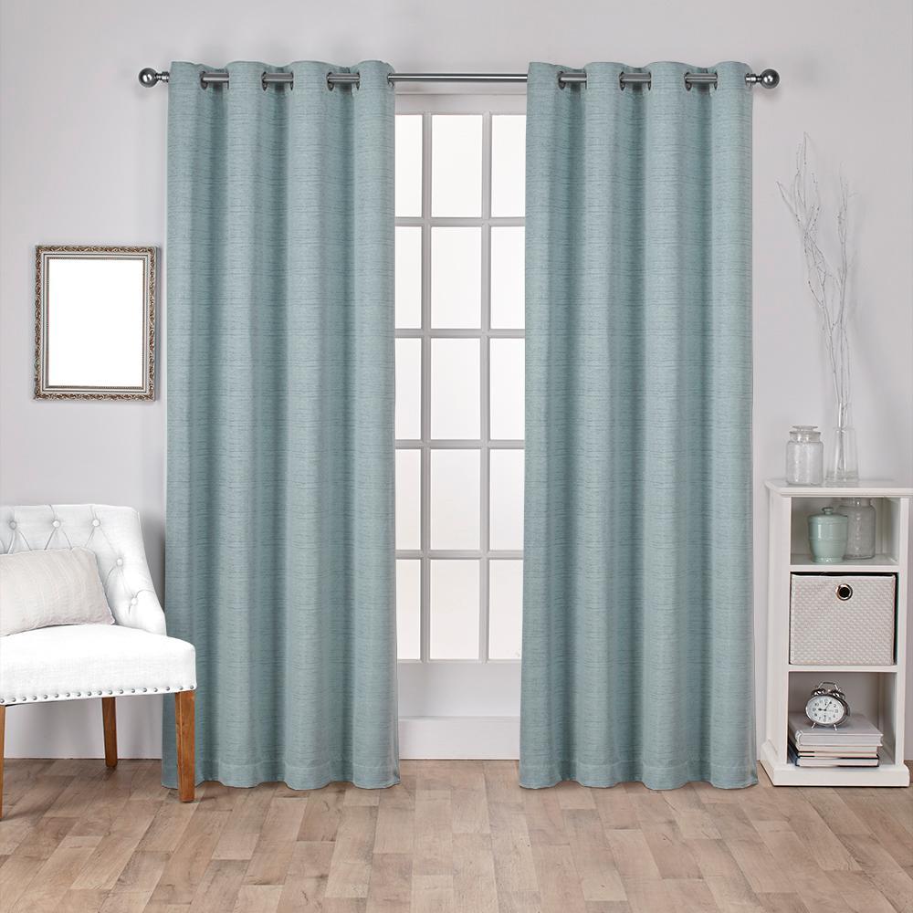 Virenze Marine Faux Silk Grommet Top Window Curtain