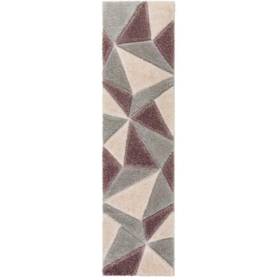 San Francisco Venice Purple Modern Geometric Abstract 2 ft. 7 in. x 9 ft. 10 in. 3D Carved Shag Runner Rug