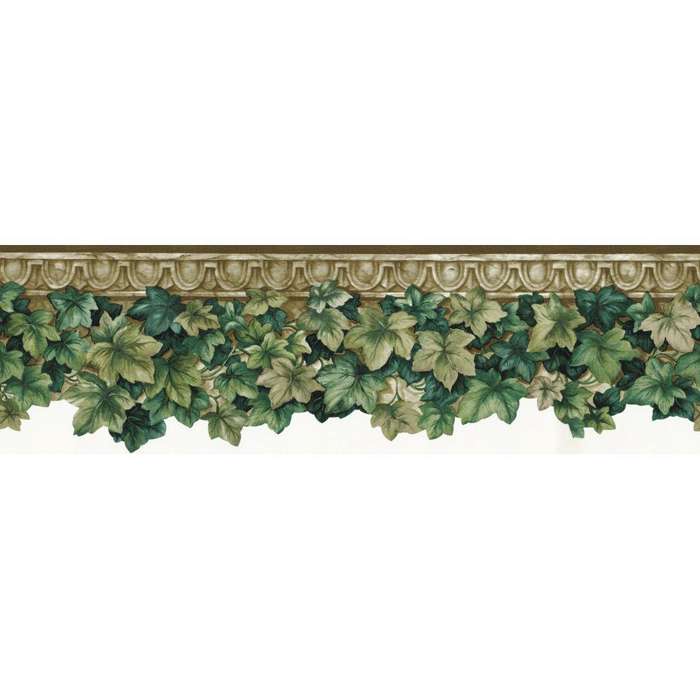 The Wallpaper Company 6.5 in. x 15 ft. Green Ivy Die-Cut Border