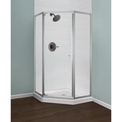 Delta 38 In L X 38 In W X 70 In H Framed Corner Shower Kit With Pivot Framed Shower Enclosure And Back Drain Shower Pan B10912 3838 The Home Depot