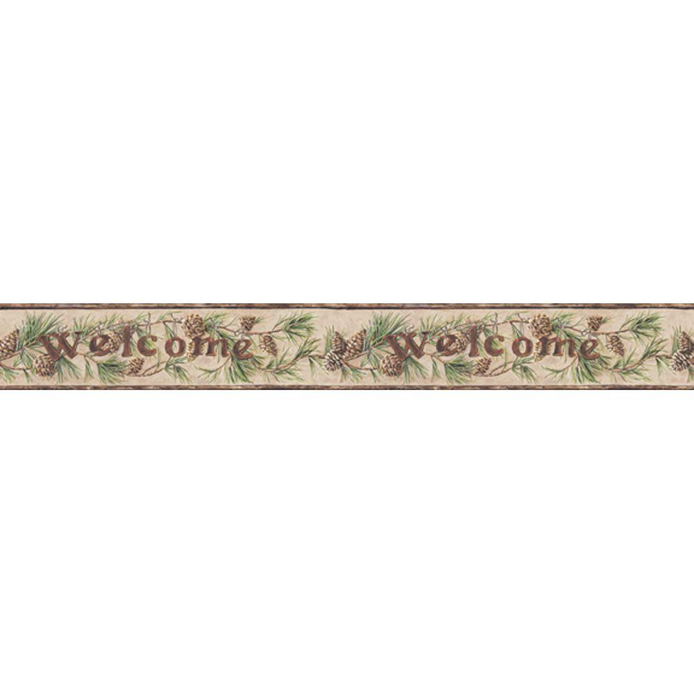 York Wallcoverings 6 in. Welcome Pinecone Border