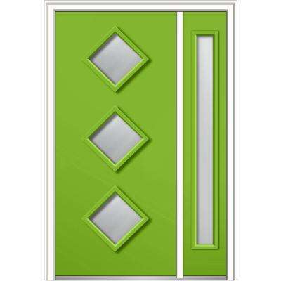 48 in. x 80 in. Frosted Glass Left-Hand 3-Lite Diamond Modern Painted Fiberglass Smooth Prehung Front Door w/ Sidelites