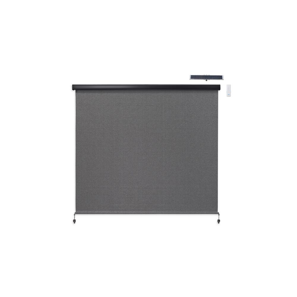 Coolaroo Coolaroo - Cordless Exterior Roller Shade Motor/Remote Operated with Full Valance - 72 in. W x 72 in. L, Pewter
