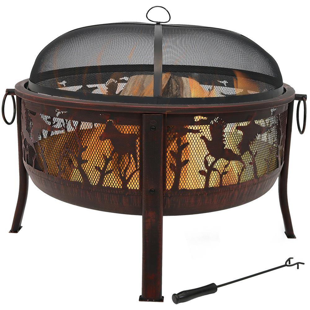 Sunnydaze Decor Pheasant Hunting 30 in. x 25 in. Round Steel Wood Burning Fire Pit in Bronze with Spark Screen