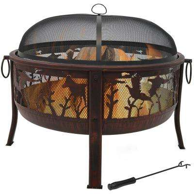 Pheasant Hunting 30 in. x 25 in. Round Steel Wood Burning Fire Pit in Bronze with Spark Screen