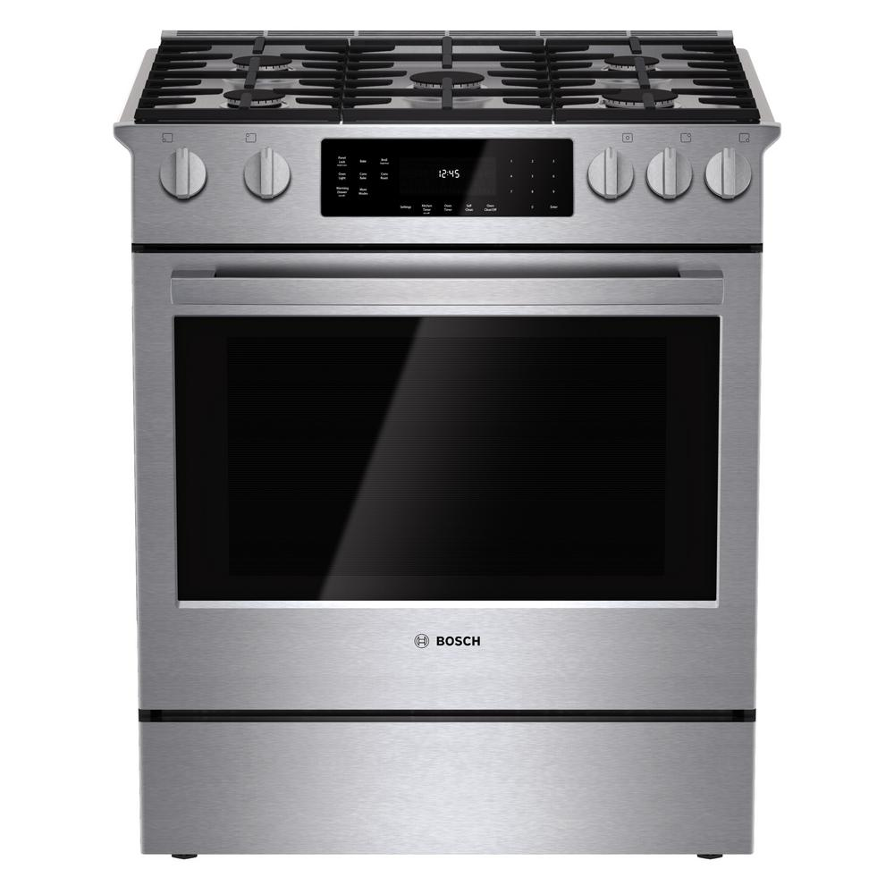 Bosch 800 Series 30 in. 4.8 cu. ft. Slide-In Gas Range wi...