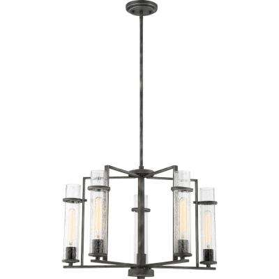5-Light Iron Black Chandelier