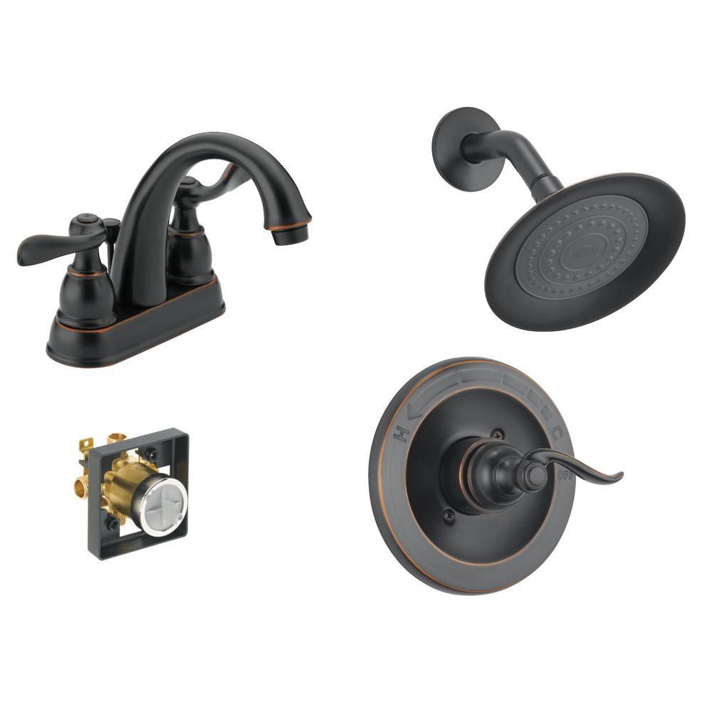 Delta Windemere 4 in. Centerset 2-Handle Bathroom Faucet Bundle with Shower Trim and Rough-In in Oil Rubbed Bronze
