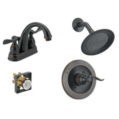 Windemere 4 in. Centerset 2-Handle Bathroom Faucet Bundle with Shower Trim and Rough-In in Oil Rubbed Bronze