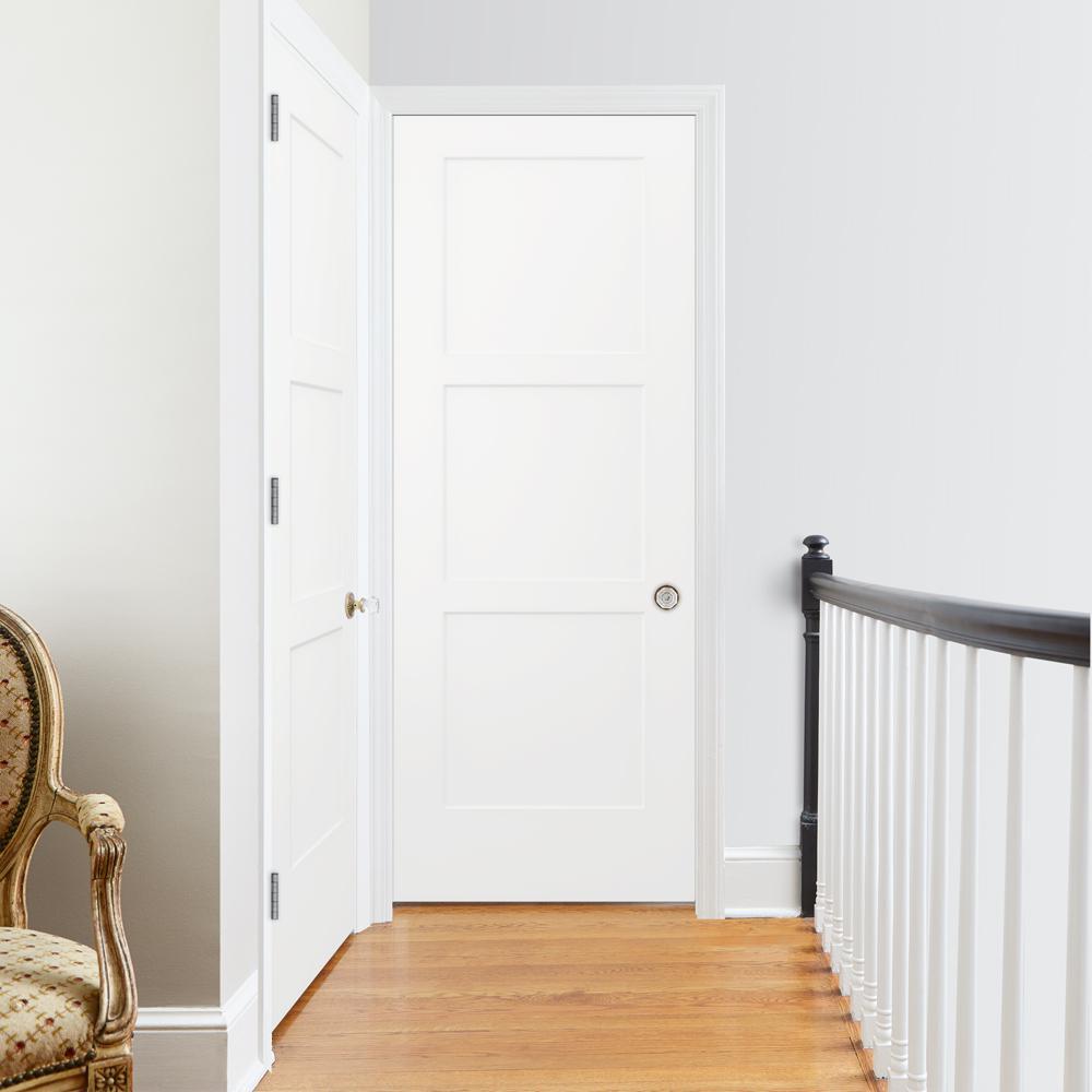 30 in. x 80 in. Birkdale Primed Left-Hand Smooth Solid Core Molded Composite Single Prehung Interior Door
