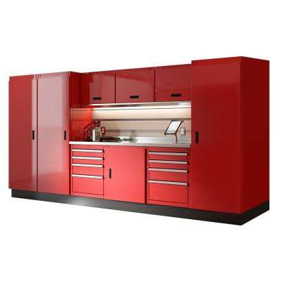 Select Series 75 in. H x 144 in. W x 22 in. D Aluminum Cabinet Set in Red with Stainless Steel Worktop (10-Piece)