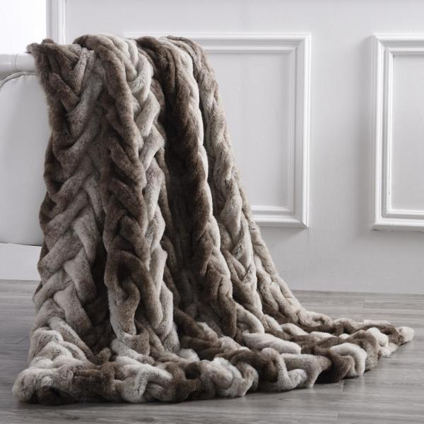 Faux Fur Braided Reverse to Flannel 50 in. x 60 in. Throw