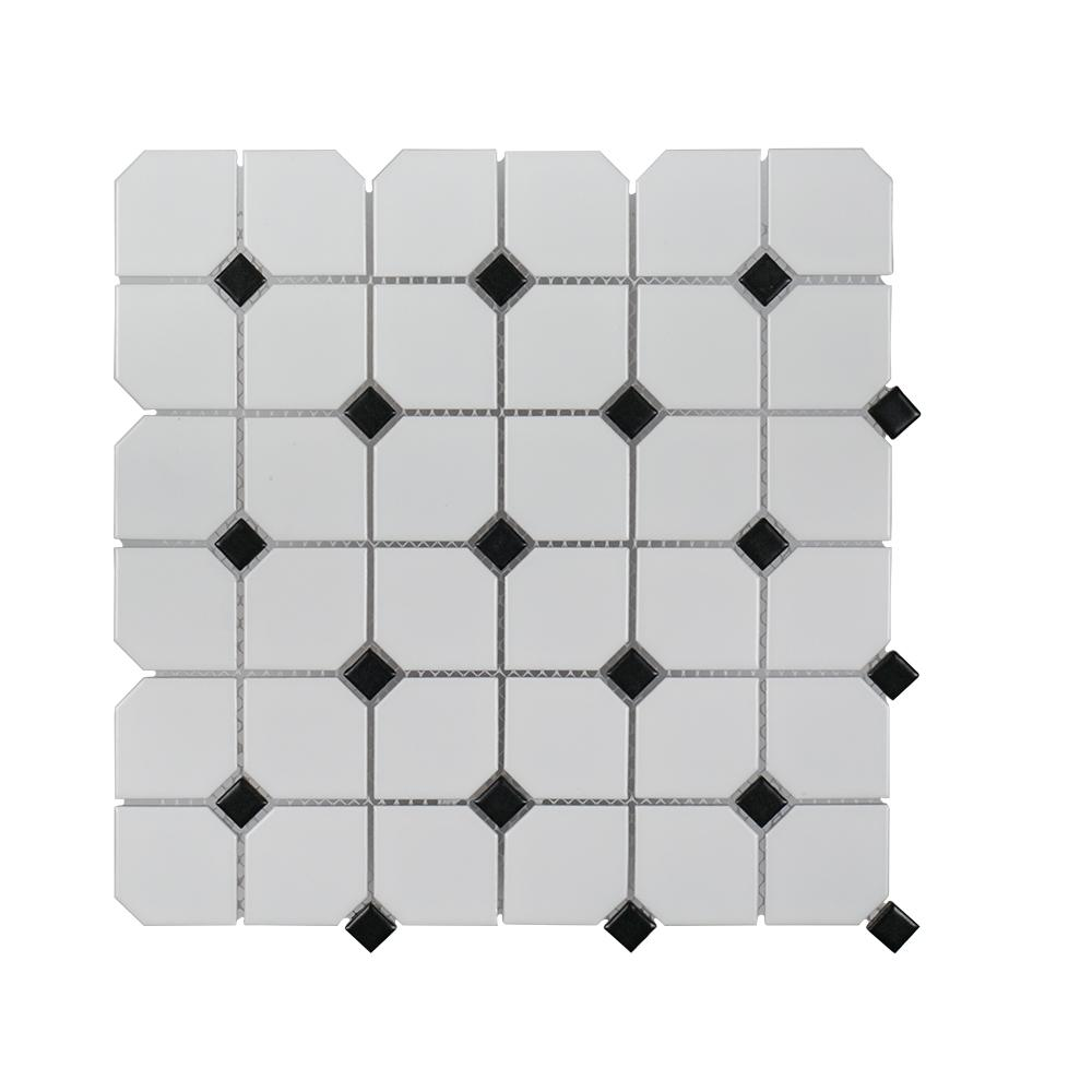 Jeffrey Court Segment Black 11.75 in. x 11.75 in. x 6 mm Porcelain Mosaic Tile