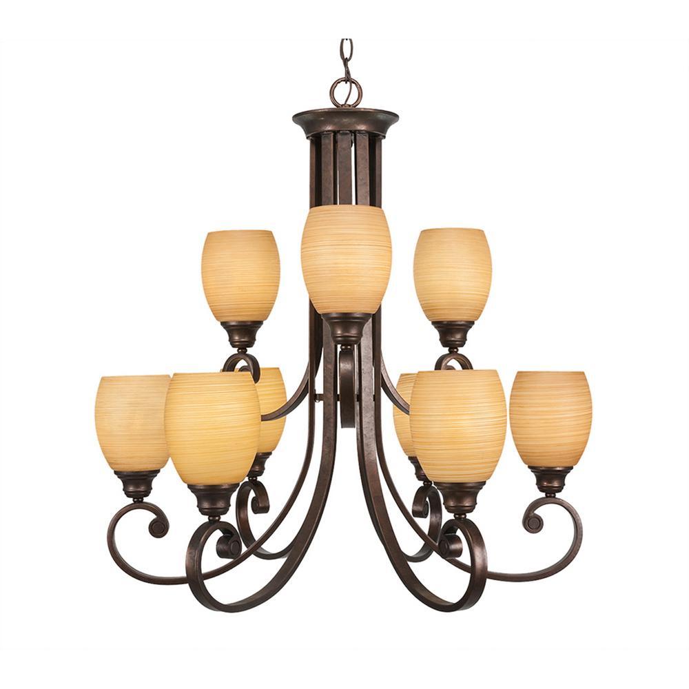 Filament Design 9-Light Bronze Chandelier with Cayenne Linen Glass Shade