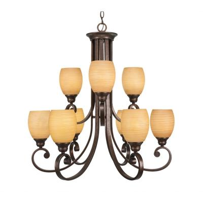 9-Light Bronze Chandelier with Cayenne Linen Glass Shade