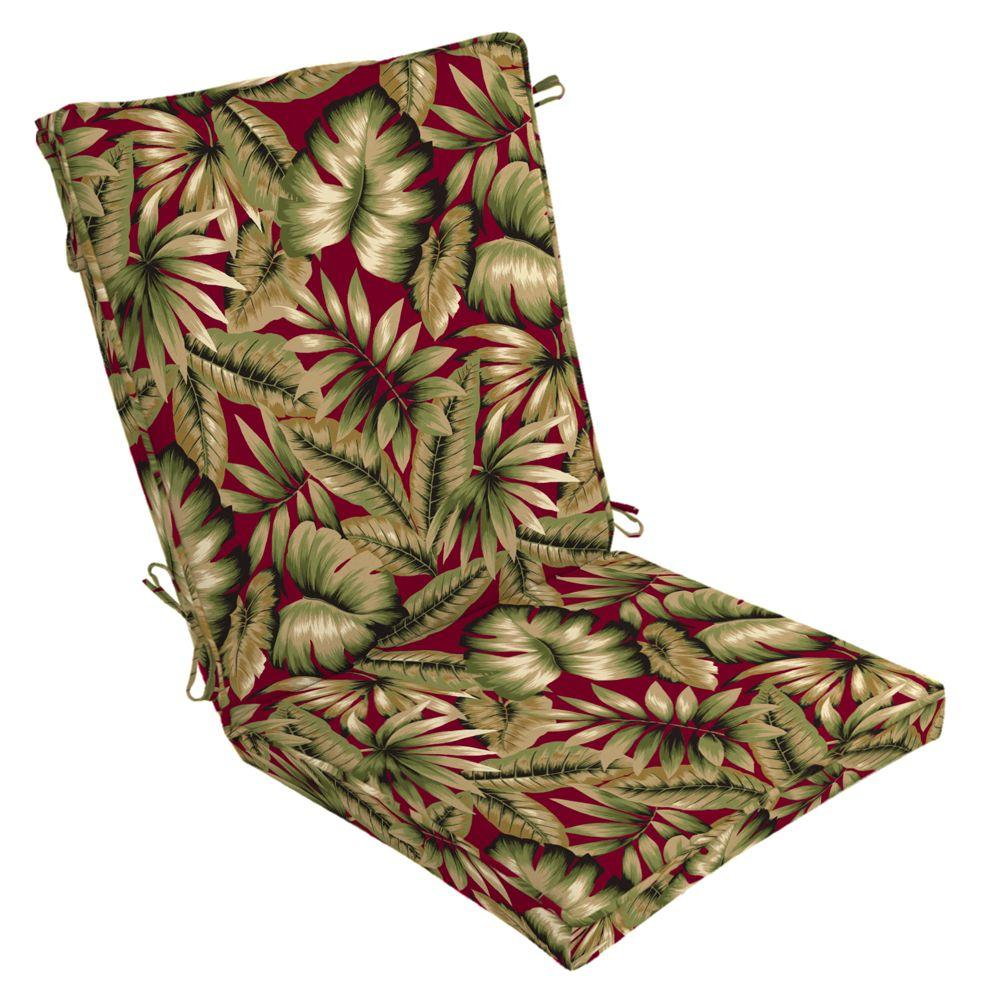 Hampton Bay Chili Tropical Welted High Back Outdoor Chair Cushion